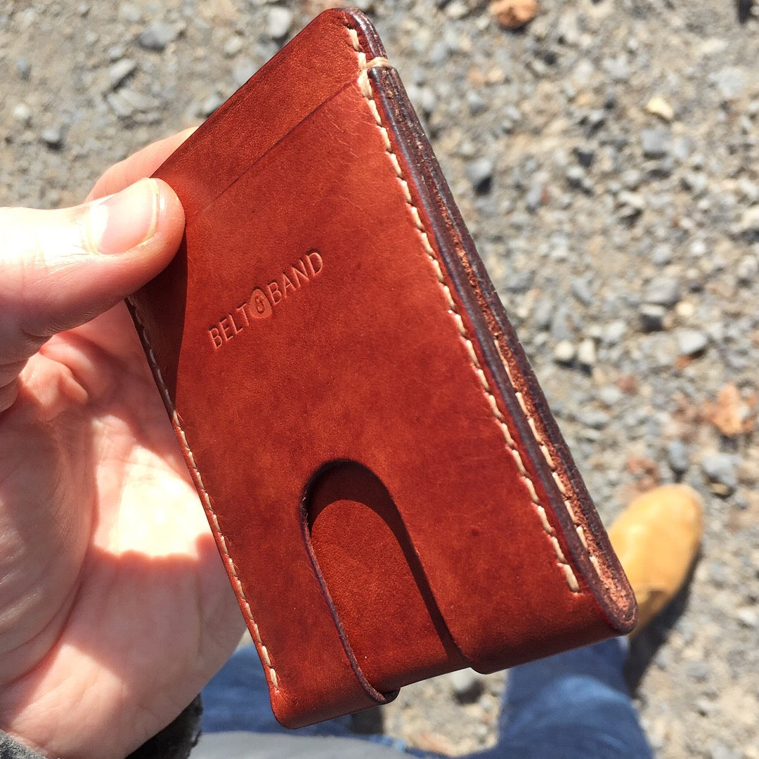 Belt & Band handmade hand-stitched bespoke Calf vegetable tanned full grain Leather Slim Card Wallet chestnut red-sands