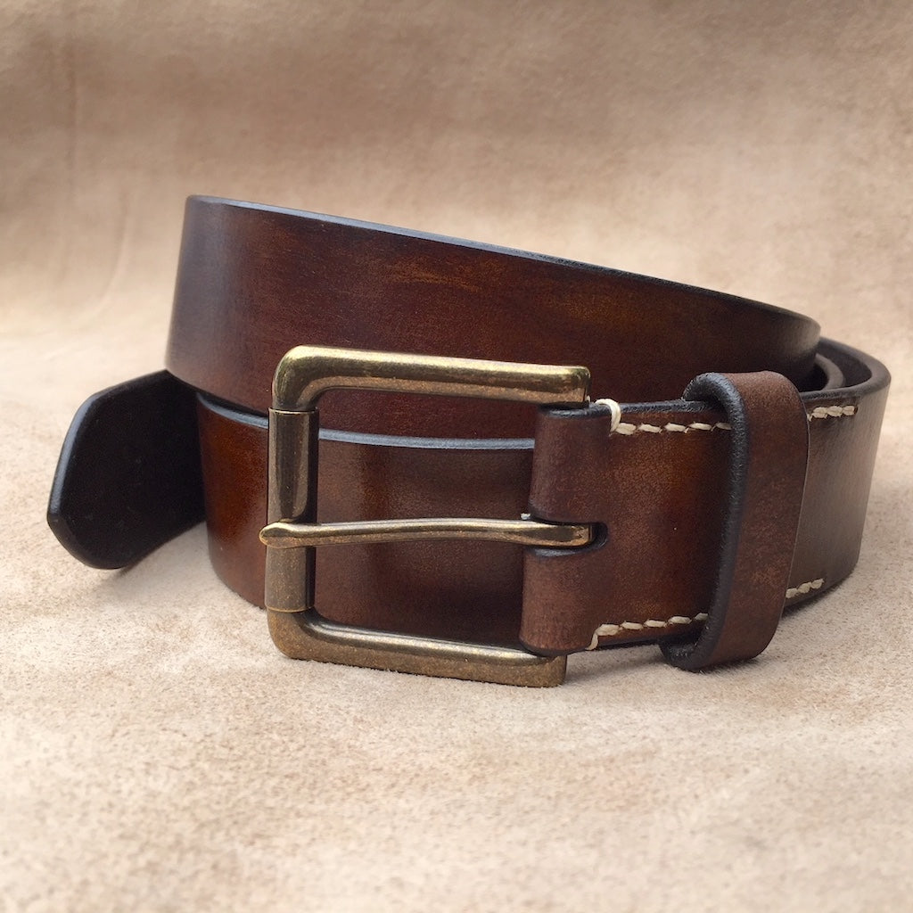 Belt & Band Bespoke Jeans Handmade Vegetable Tanned Brown Leather Belt Solid Brass Roller Buckle Custom Size length
