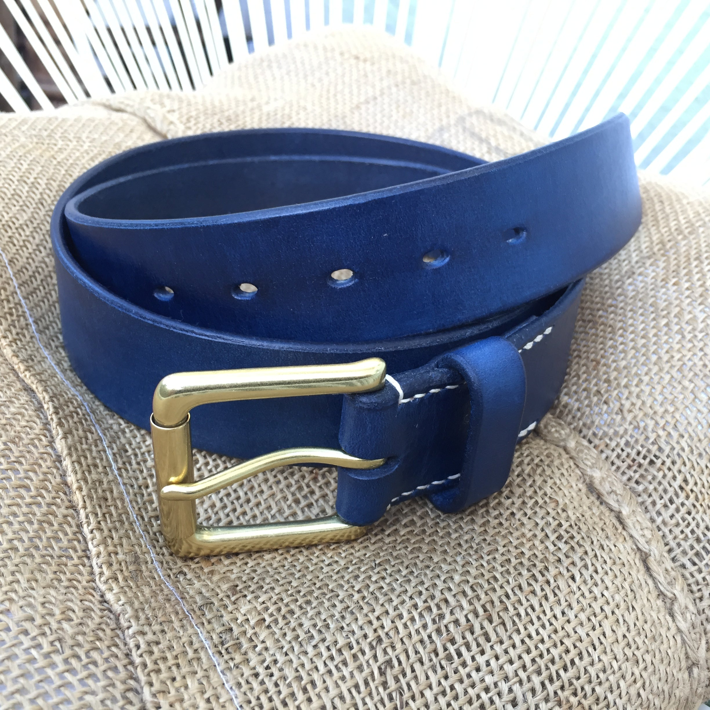 Belt & Band Navy Blue Handmade Vegetable Tanned Leather Belt Solid Brass Roller Buckle Custom Size length