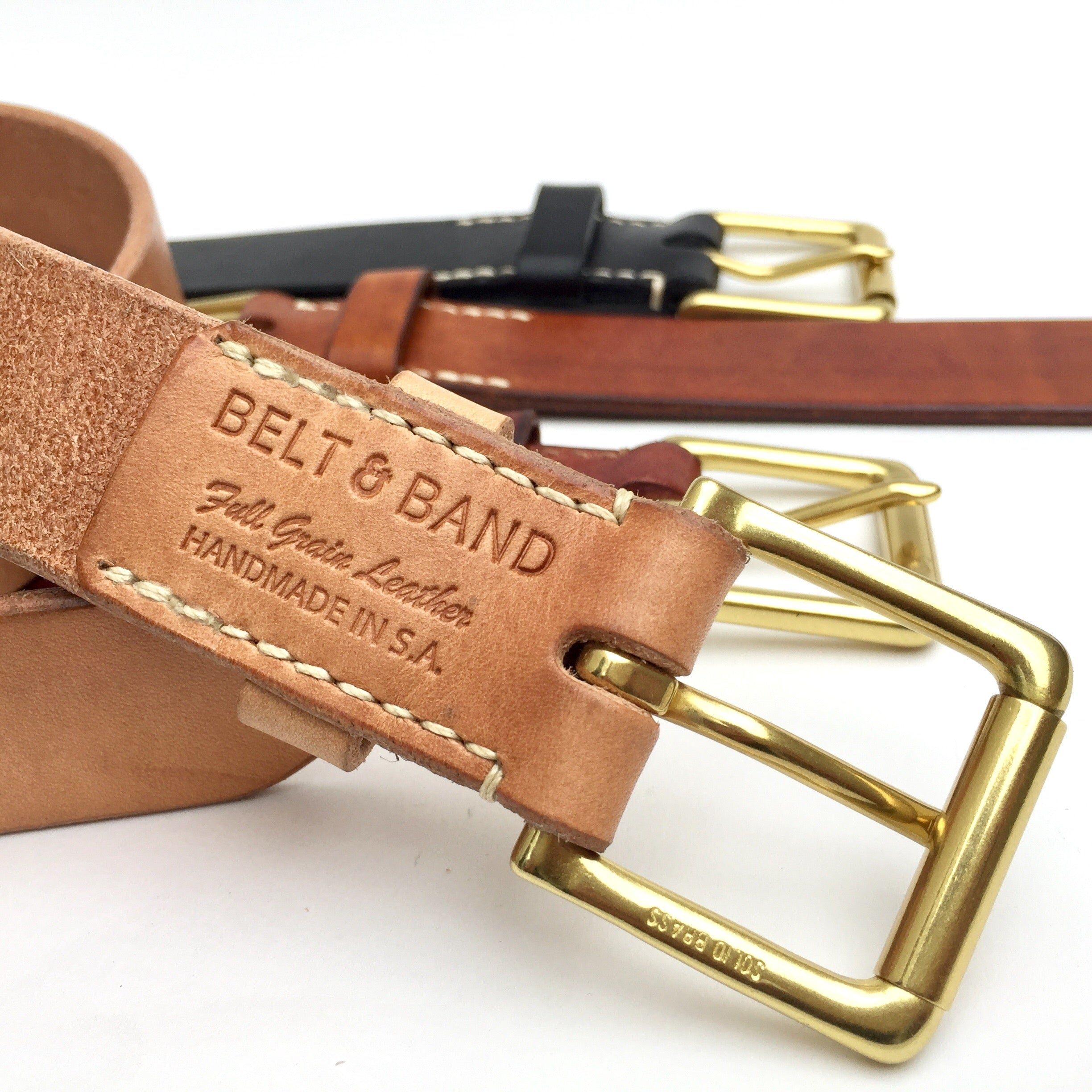 Belt & Band Handmade Natural Vegtable Tanned Leather Belt Solid Brass Roller Buckle Custom Size length