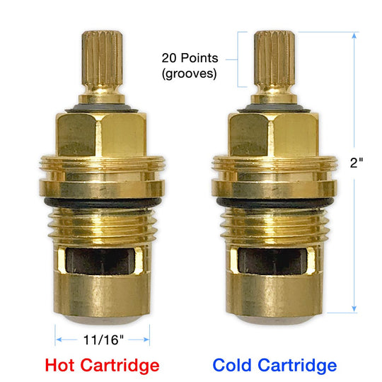 "Bundle of 1⁄2"" Quarter Turn Hot and Cold 20 Point Cartridges 18.30.036 and 18.30.035"