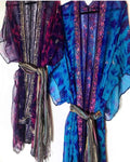 Indigo Indian Beaded silk kimono