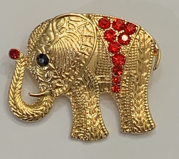 Trunks Up Gold & Rhinestone Brooch
