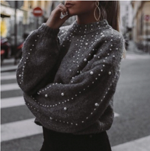 Load image into Gallery viewer, Beaded lantern Sleeve Knitted Sweater Pullover