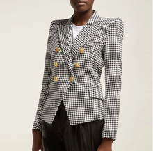 Load image into Gallery viewer, Black and White Plaid Blazer