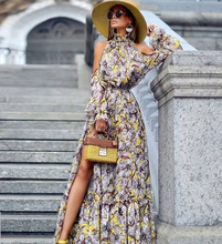 Load image into Gallery viewer, Elegant floral cold shoulder Maxi