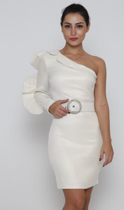 One shoulder dress with a belt