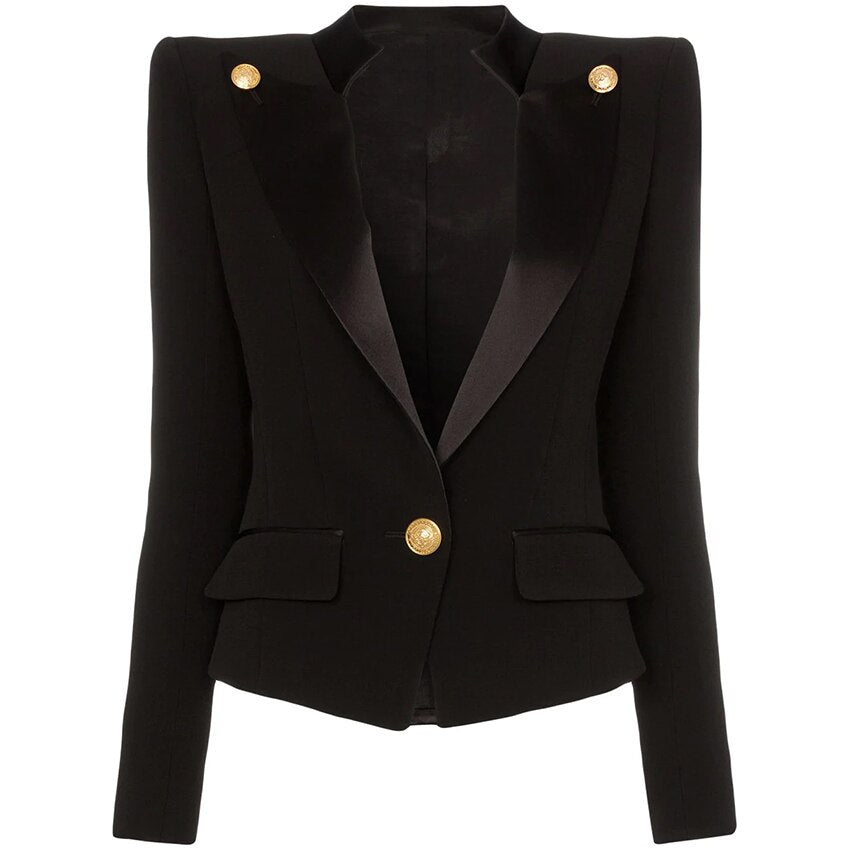Single Button Satin Collar Blazer