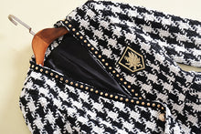 Load image into Gallery viewer, Long Sleeve  Embroidery Rivet Hounds-tooth Plaid Jacket Outer Coat