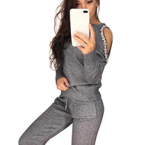 Load image into Gallery viewer, Open Shoulder Sweater Suits Top & Knitted Pants Track Suit