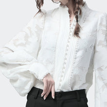 Load image into Gallery viewer, Lace Shirt With Long Lantern Sleeves