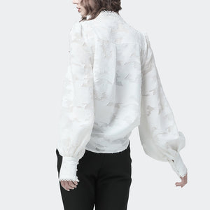 Lace Lantern Long Sleeve  With Stand Up Neck