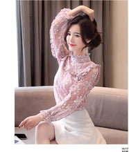 Load image into Gallery viewer, Floral hollow out Spring lace Shirt  see through Top