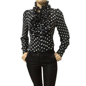 Vintage Chiffon Polka Dots Women's Body Blouse
