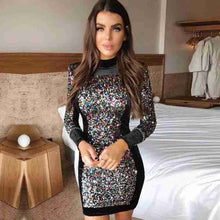 Load image into Gallery viewer, Sequined Bodycon Dress Women