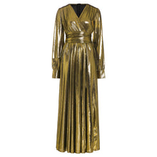 Load image into Gallery viewer, Luxury Golden Glitter Split V Neck Sexy Party Dress