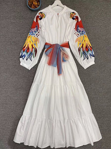 Colorful Embroidery Patchwork White Maxi Dress O Neck With  Lantern Sleeve Vestdios