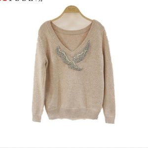 Cashmere Diamond Knitted warm Suit V Collar Sweater