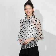 Load image into Gallery viewer, Black Polka Dot Blouse