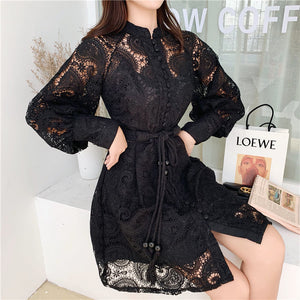 Fashion Embroidery Hollow Out White Dress