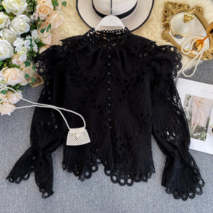 Elegant Vintage  Blouse With Mandarin Collar