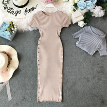 Load image into Gallery viewer, Button Vintage Ladies Slim Summer Bodycon Knit Midi Dress