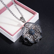 Load image into Gallery viewer, Vintage Black Blue Crystal Flower Drop Necklaces