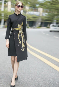 The Stand collar Embroidery Elegant Asymmetrical Dresses