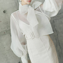 Load image into Gallery viewer, Summer Long Lantern Sleeve Bow  Sheer Blouse