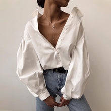 Load image into Gallery viewer, Lantern Sleeves lapel Streetwear fashion Top