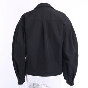 Lantern Sleeves lapel Streetwear fashion Top
