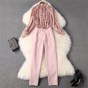 Two Piece Outfits Women's Fashion Ruffle Polka Dot Print Chiffon Blouse and Pants Suit Set Twinset