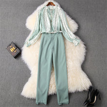 Load image into Gallery viewer, Two Piece Outfits Women's Fashion Ruffle Polka Dot Print Chiffon Blouse and Pants Suit Set Twinset