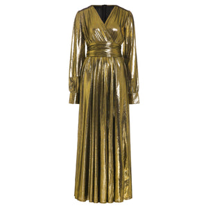 Luxury Golden Glitter Split V Neck Sexy Party Dress
