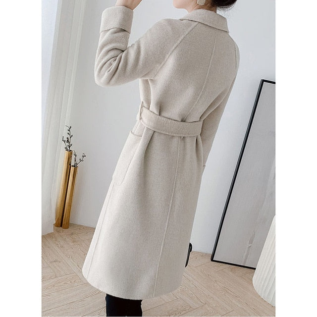High Quality Double-faced cashmere Trench  coat