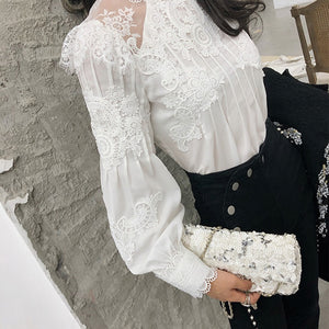 Casual Patchwork Lace Hollow Out  Shirt