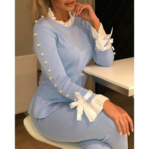 Bowknot Bell Sleeve Knit Tops