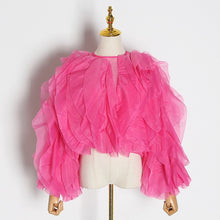 Load image into Gallery viewer, Elegant Patchwork Ruffles Chiffon Blouses