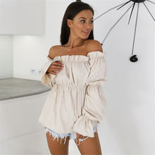 Load image into Gallery viewer, Off Shoulder blouse With Long lantern sleeves