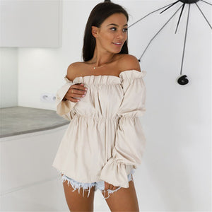 Off Shoulder blouse With Long lantern sleeves