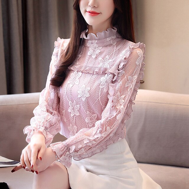Floral hollow out Spring lace Shirt  see through Top