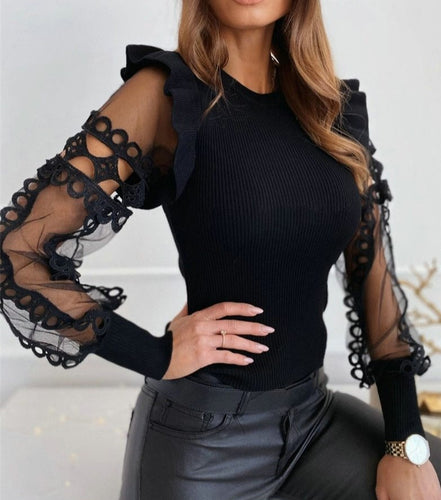 Hollow Out Lace Spliced Knit Top