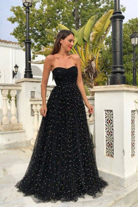 Tube Top Off Shoulder Backless Black Tulle Maxi