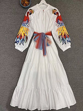 Load image into Gallery viewer, Colorful Embroidery Patchwork White Maxi Dress O Neck With  Lantern Sleeve Vestdios