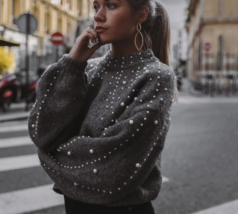Beaded lantern Sleeve Knitted Sweater Pullover