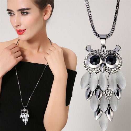 Classic  Retro Synthetic Opal Owl Pendant Long Necklaces