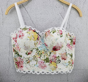 She'sModa  Sweet Floral Lace Bralet  Bustier Bra