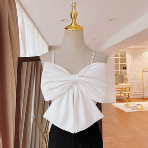 Sexy Patchwork Square Collar Top With Bow