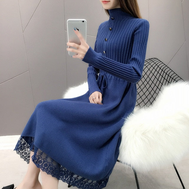 Long  Pullovers  Warm  Knitted Sweater Dress