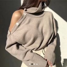 Load image into Gallery viewer, Elegant Sexy Strapless Turtleneck Loose  Pullovers Top